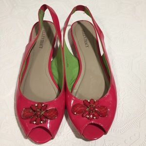 Ellen Tracey peep toe pink red mules sandals 10